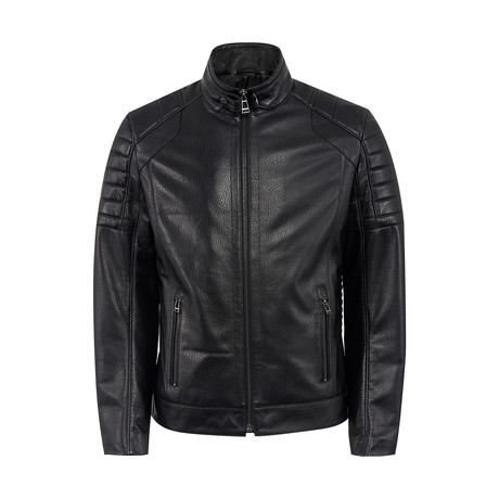 Greer Leather Jacket Regular Fit // Black (XS)