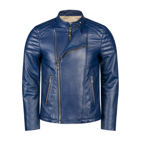Francis Leather Jacket Slim Fit // Blue (XS)