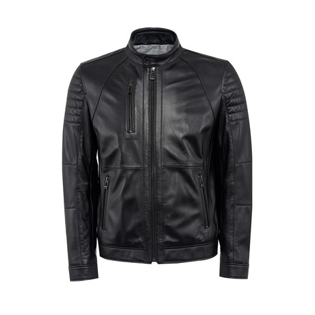 Otto Leather Jacket Slim Fit // Black (XS)
