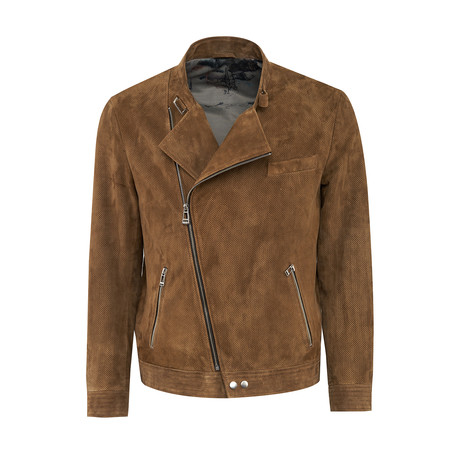 Monty Suede Leather Jacket Slim Fit // Tobacco (XS)
