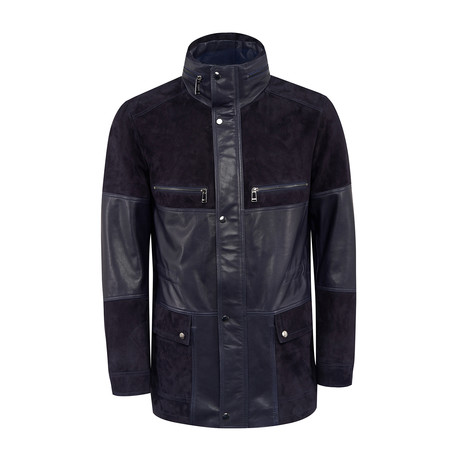 Dexter Leather Coat Regular Fit // Navy (XS)