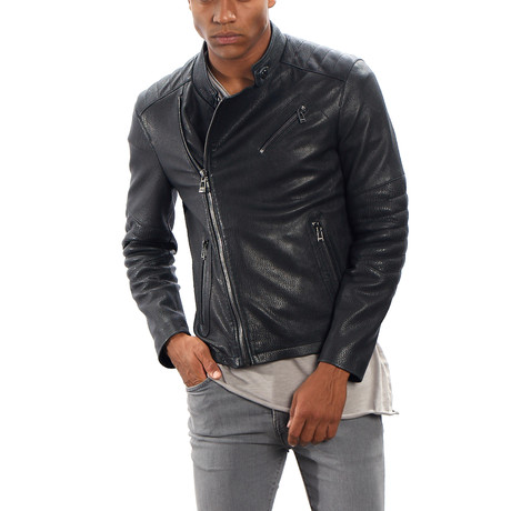 Milo Leather Jacket Slim Fit // Black (L)