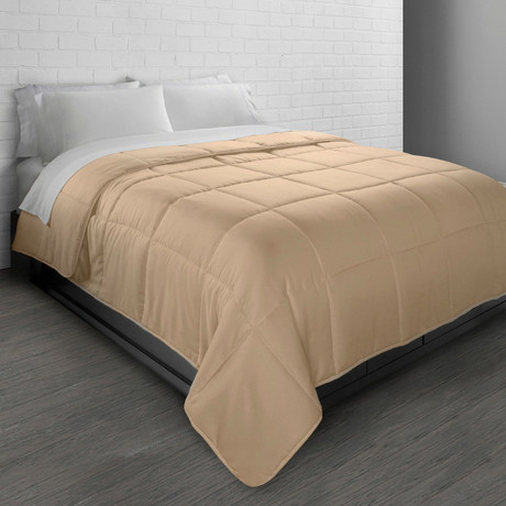 All-Season Triple Brushed Microfiber Down-Alternative Comforter // Khaki (Twin)