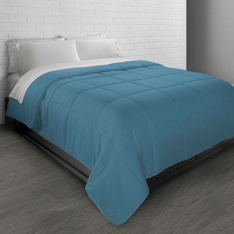 All-Season Triple Brushed Microfiber Down-Alternative Comforter // Slate Blue (Twin)