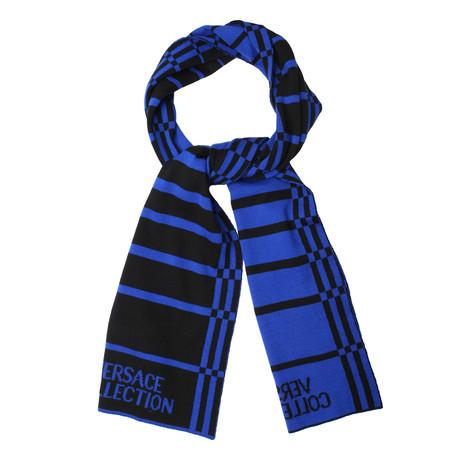 Wool Striped Scarf // Blue