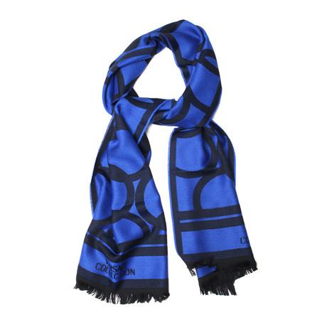 Wool Round Pattern Scarf // Blue