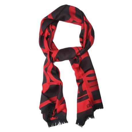 Wool Round Pattern Scarf // Red