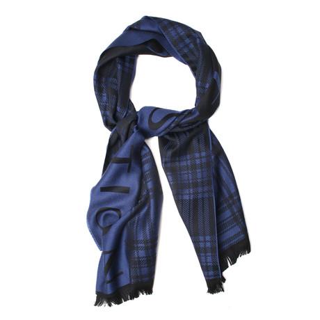 Wool Plaid Scarf // Blue