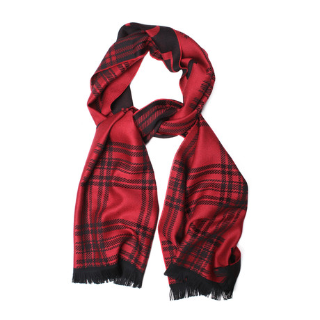 Wool Plaid Scarf // Red