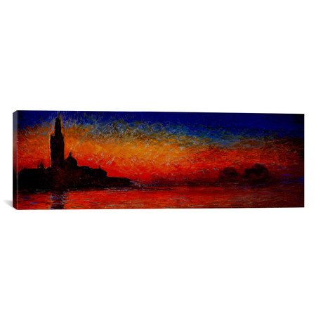 """Sunset in Venice // Panoramic (36""""W x 12""""H x 0.75""""D)"""