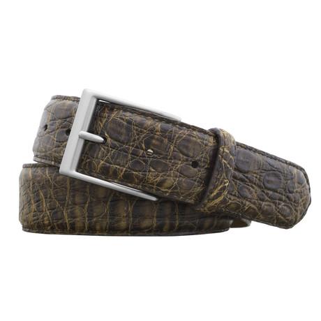 "Genuine Vintage Crocodile Belt // Brown (32"" Waist)"