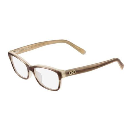 Ferragamo // Women's Modified Rectangle Optical Frames // Striped Honey