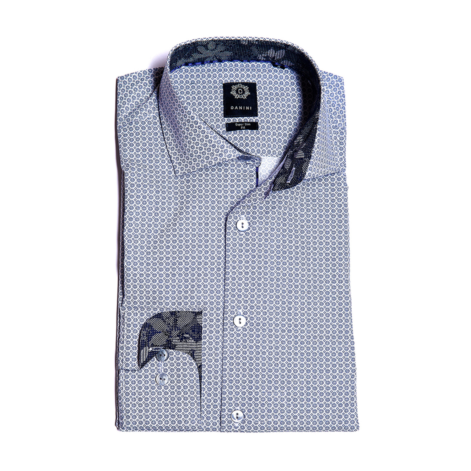 Frederick Slim Fit Dress Shirt Blue Gray S Danini Touch