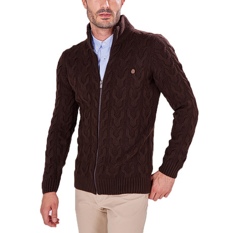 Zip-Up Textured Sweater // Brown (S)