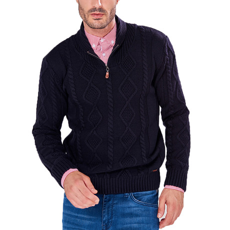 Patterned Quarter-Zip Sweater // Navy (S)