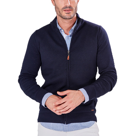 Knitted Zip-Up Jacket // Navy (S)