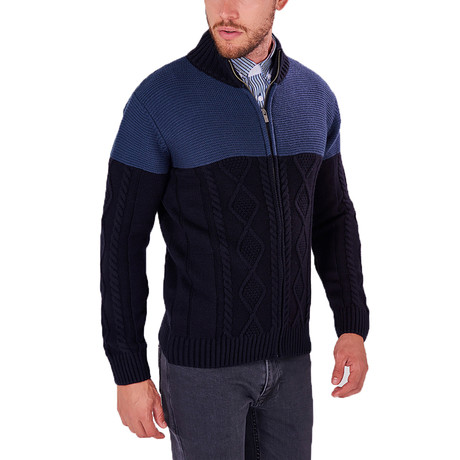 Contrast Knit Zip-Up Sweater // Navy (S)