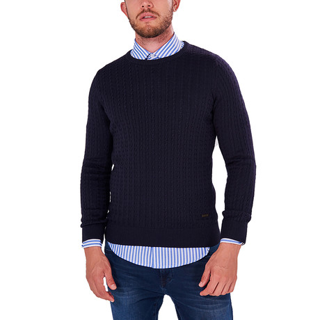Patterned Knit Jumper // Navy (S)