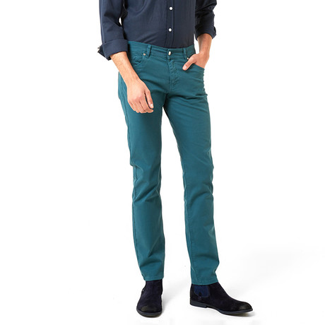 Slim-Straight Chinos // Petrol Blue (30WX32L)