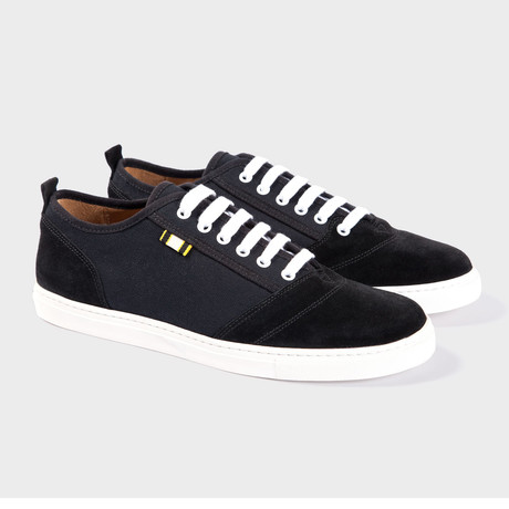 Suede + Canvas Low Sneaker // Black + Black (Euro: 40)