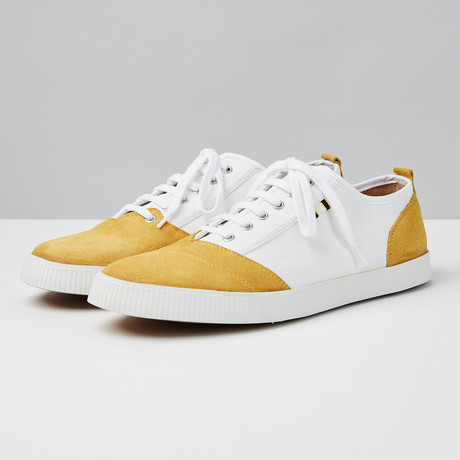 Suede + Canvas Low Sneaker // Gold + White (Euro: 40)