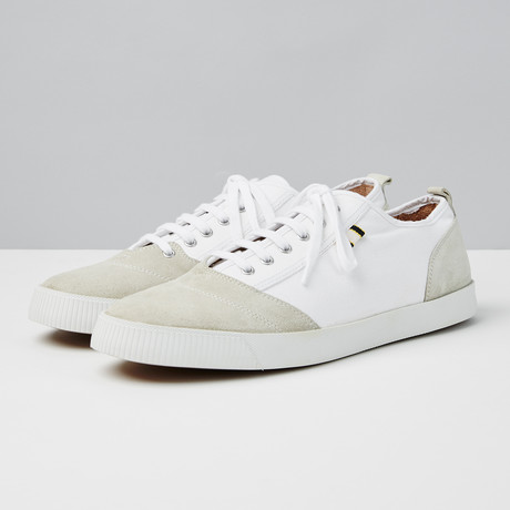 Suede + Canvas Low Sneaker // Light Grey + White (Euro: 40)