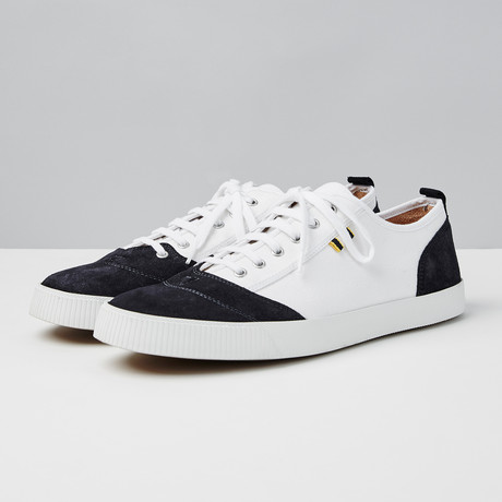 Suede + Canvas Low Sneaker // Navy + White (Euro: 40)