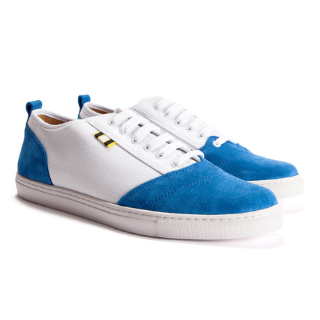 Suede + Canvas Low Sneaker // Royal + White (Euro: 40)
