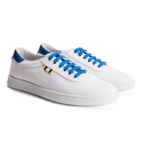 Canvas Low Sneaker // White + Royal Blue (Euro: 40)