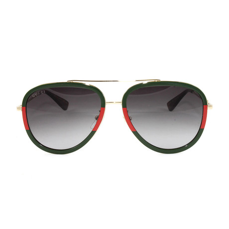 GG0062S Sunglasses // Gold + Green + Red