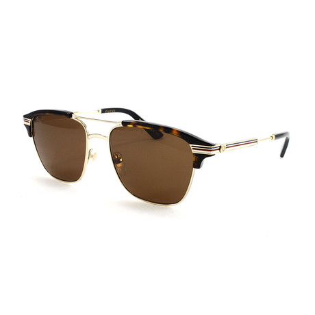 Gucci // Men's GG0241S Sunglasses // Gold + Havana