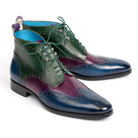 Wingtip Ankle Boots // Blue + Purple + Green (Euro: 37)