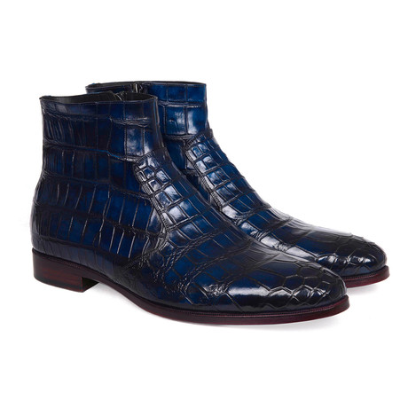 Genuine Crocodile Side Zipper Boots // Navy (Euro: 38)