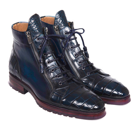 Genuine Crocodile + Calfskin Side Zipper Boots // Blue (Euro: 38)