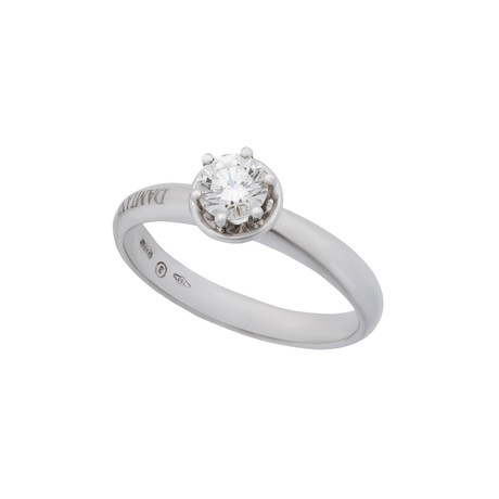 Damiani Queen 18k White Gold Diamond Engagement Ring // Ring Size: 7.25