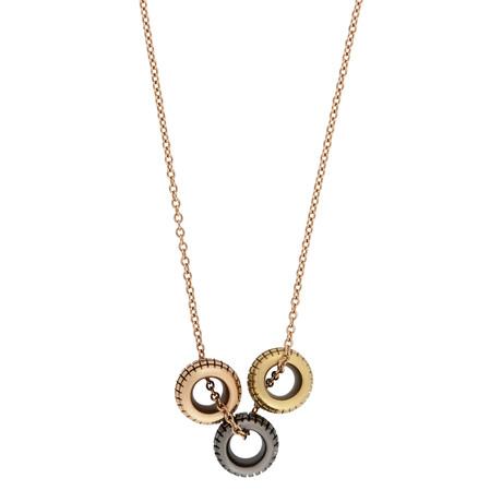 "Damiani Metropolitan 18k Yellow Gold + 18k Rose Gold + 18k Black Gold Diamond Pendant Necklace // Chain Length: 16"""