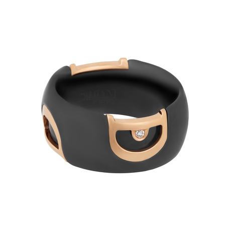 Damiani D. Icon 18k Rose Gold Ceramic Diamond Ring // Ring Size: 6.25