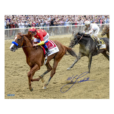 Mike Smith // Signed Photo // 2018 Belmont Stakes Triple Crown Photo
