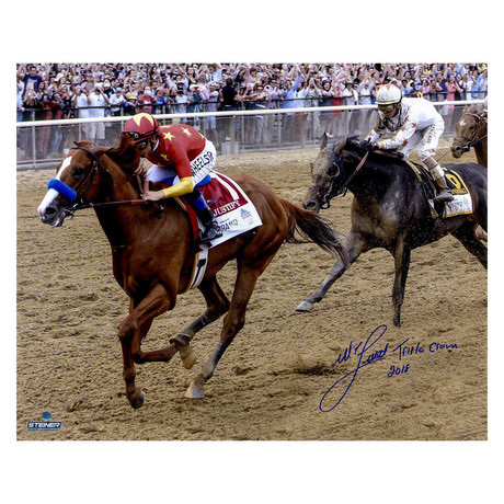 Signed Photo + Inscription // 2018 Belmont Stakes Triple Crown // Mike Smith
