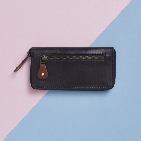 Long Leather Purse // Black + Tan (Black, Tan)