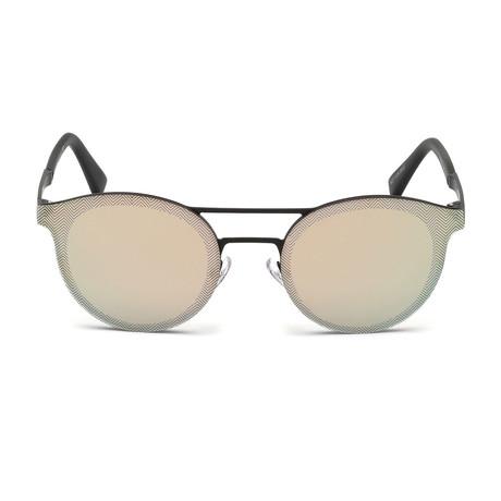Zegna // Men's Double Bridge Sunglasses // Black + Grey Mirror