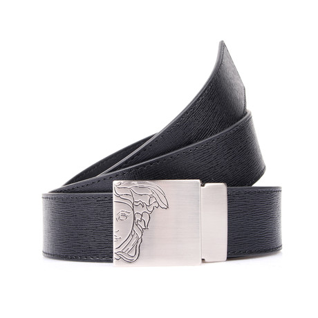 Engraved Medusa Buckle Textured Belt // Black