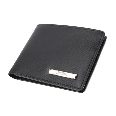 Textured Bi-Fold Card Wallet // Black (Black)