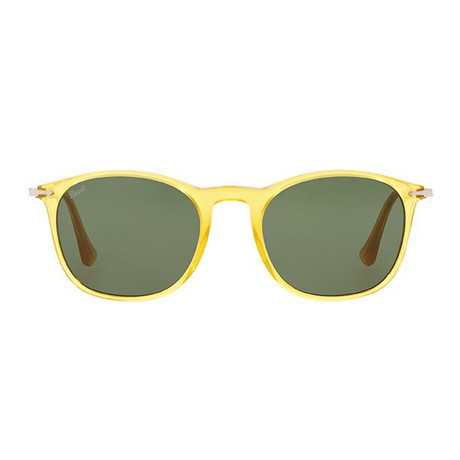 Persol Golden Rectangle Sunglasses // Honey + Grey Green