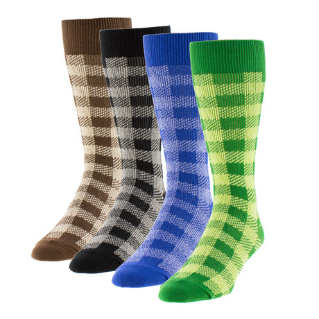 Checker Boot Sock // Pack of 4