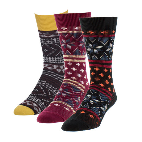 Cross + Flack-Aztec Boot Sock // Pack of 3