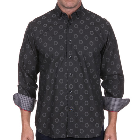 Jacquard-Button Down + Dots Design // Black (S)