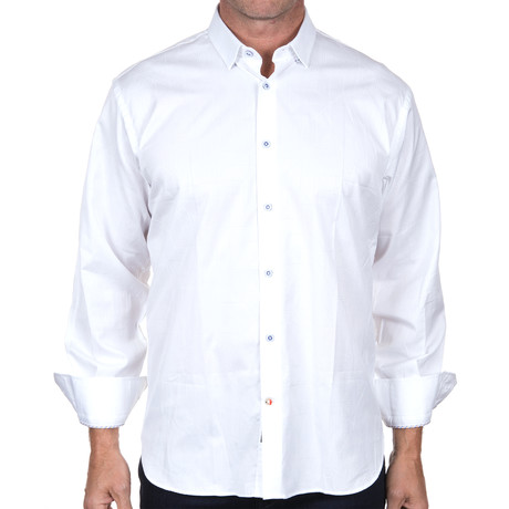 Jacquard Button-Down // White (S)