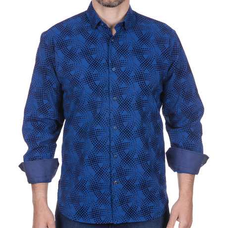 Button-Down + Swirled Dots Design // Navy (S)