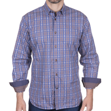 Jacquard-Button Down + Checkered Design // Multicolor (S)